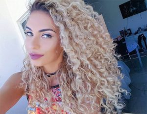 beach blonde spiral perm