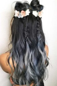 Grey ombre pigtail braids