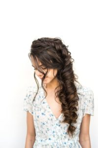 prom updo Jumbo side braid