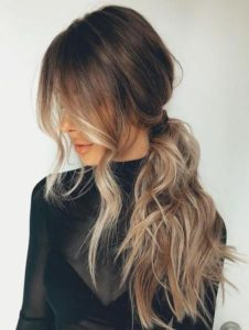 Ombre side ponytail