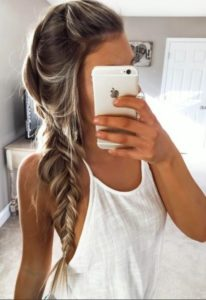 loose fishtail braid prom hair