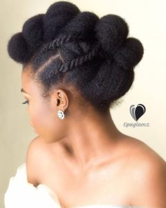 wedding black natural updo