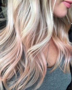 Peach blonde rose gold balayage
