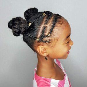 double bun and braids