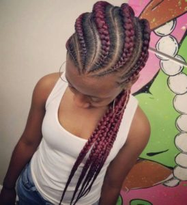 pink fishbone braids