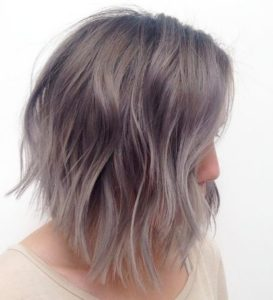 asymmetrical bob cut Mushroom Brown