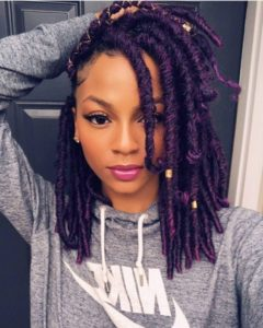 purple faux locs