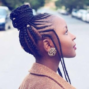 African inspired feed in braid bun