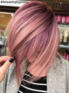 Dusky Pink and Lavender Balayage