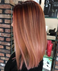 rose gold Balayage Styles for Straight Hair - Rose Gold balayage with Auburn Base