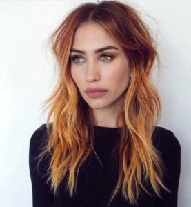 Bright Blorange Balayage Thin Hair