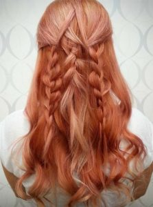 Blorange Hair Styled into Braids