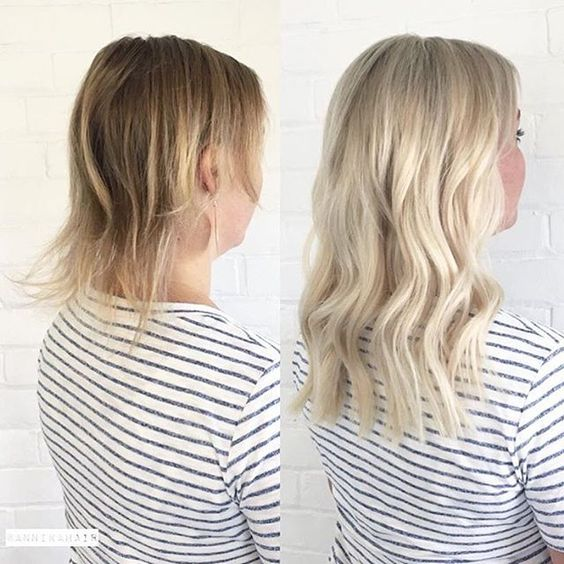 Blonde extensions short hair