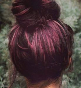 Brunette Hair with Magenta Underlights