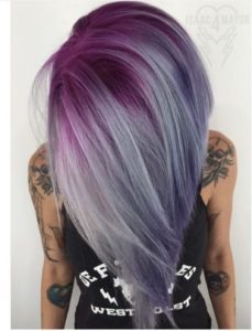 Magenta Pink and Silver Ombre Hair