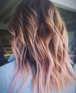 Brunette and Pink Balayage
