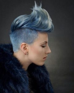 Icy Blue Punk Pixie Cut