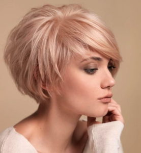Blush Pink Bob with Bangs for Fine Hair