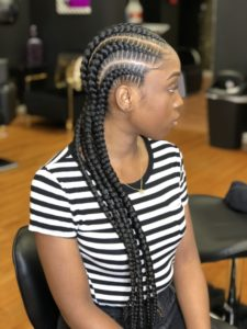 Straight cornrow large feed in braid