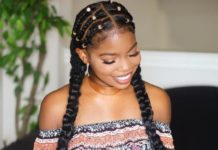 boho cornrows with knotted braids