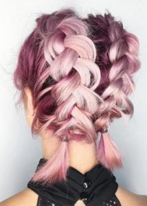 Chunky Pink Dutch Braids with Pigtails