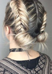 Double Fishtail Braids and Buns