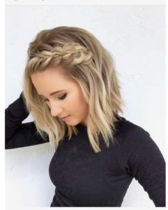 Half Crown French Braid in Short Hair