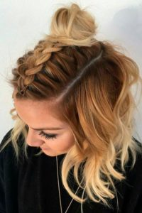 Half Dutch Braid and Bun