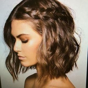 Short Messy Lob with Dutch Braid