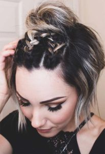 Mini Dutch Braids and Top Knot