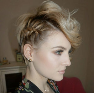 Pixie Cut with Half Head French Braid