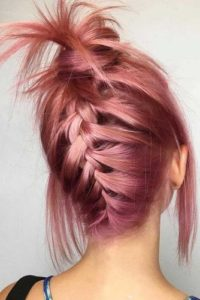 Reverse French Braid and Messy Bun