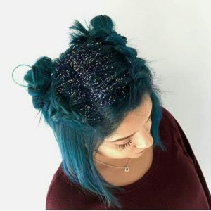 Teal Dutch Braids and Space Buns