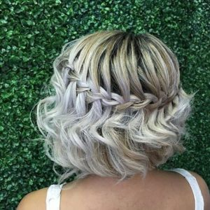 Platinum Bob with Waterfall Braid