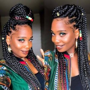 Chunky colored african braid