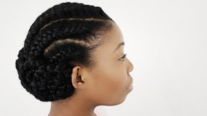 Cornrowed Low Bun