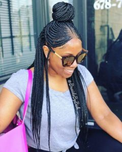 Half up bun african braid