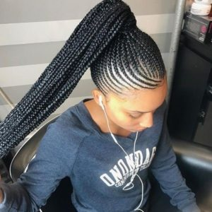 Hig ponytail african braid