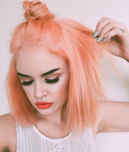 Blunt Peach Bob with Top Knot