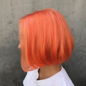 Rounded Bob Peach Hairstyle