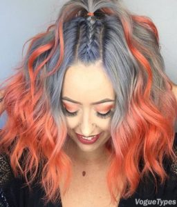 Grey Hair with Peach Ombre