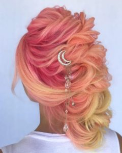 Blonde, Pink , and Peach Up do