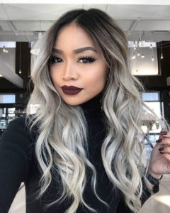 Long Grey Ombre with Defined Curls