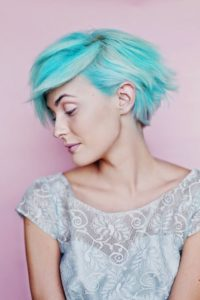 Pastel Blue Grown-Out Pixie Cut