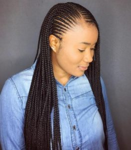 Side part african braid