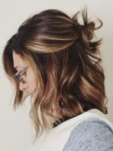 Lob with Messy Top Knot