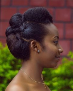 black updo natura hair