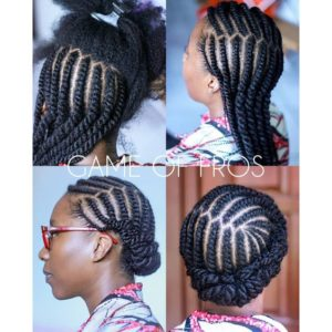 natural braids updo