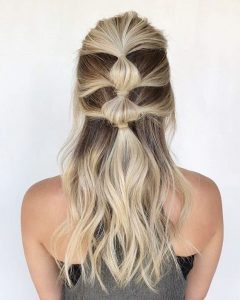 half up bubble ponytail
