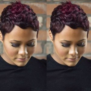 deep wine red short hair
